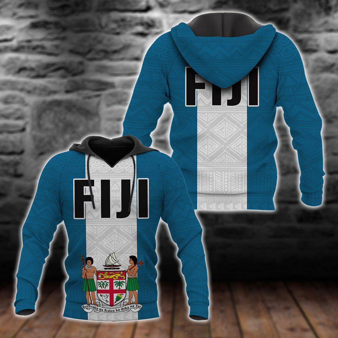 Fiji Polynesian Flag And Coat Of Arm All Over Print
