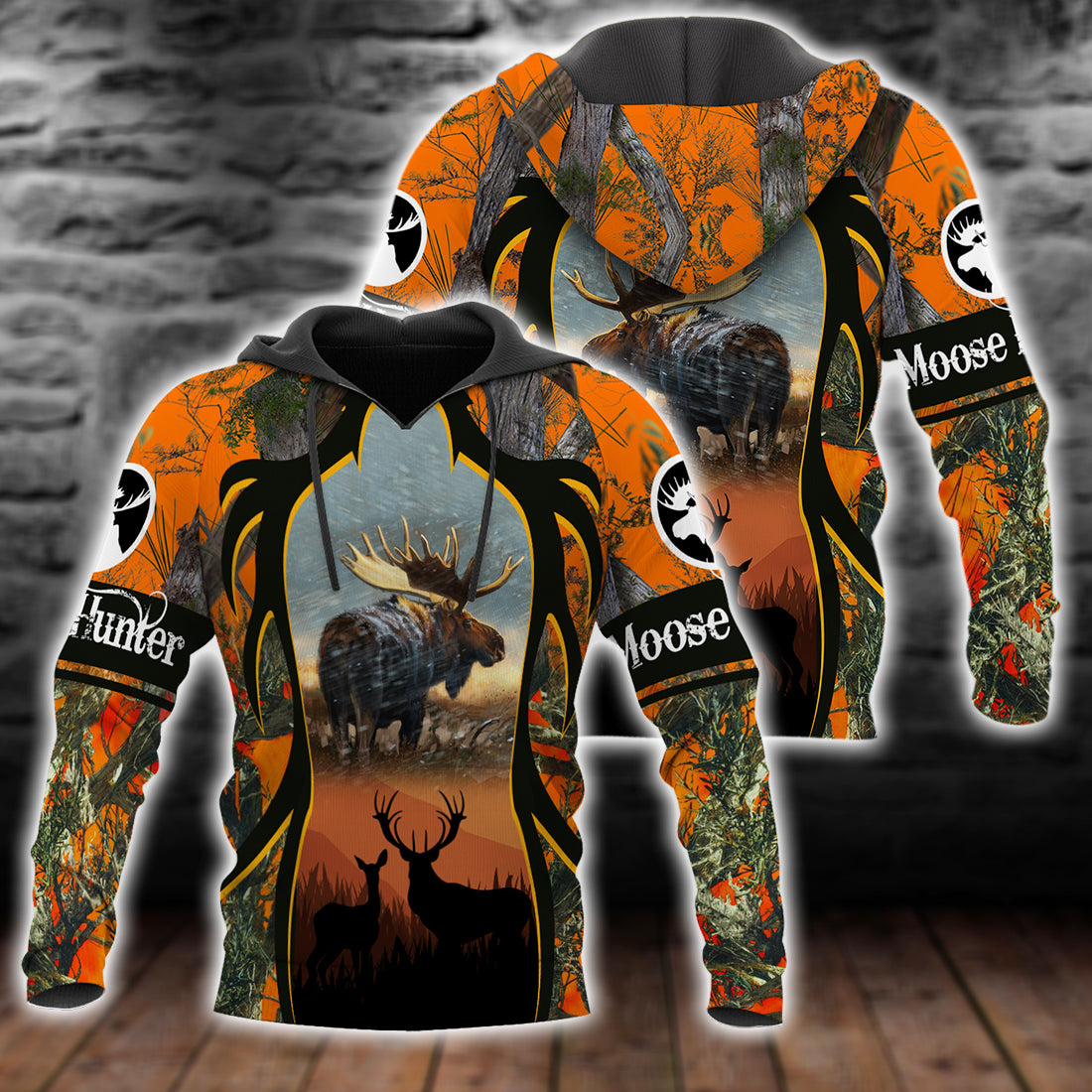 Moose Hunting Camo All Over Print Shirt For Men And Women