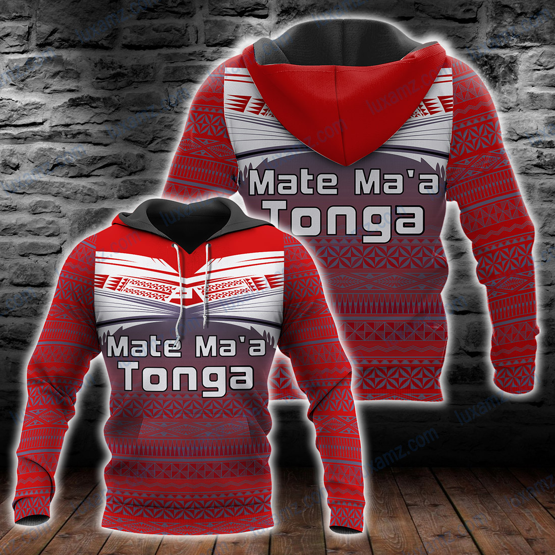 Tonga Polynesian Mate Ma'a Red Color All Over Print