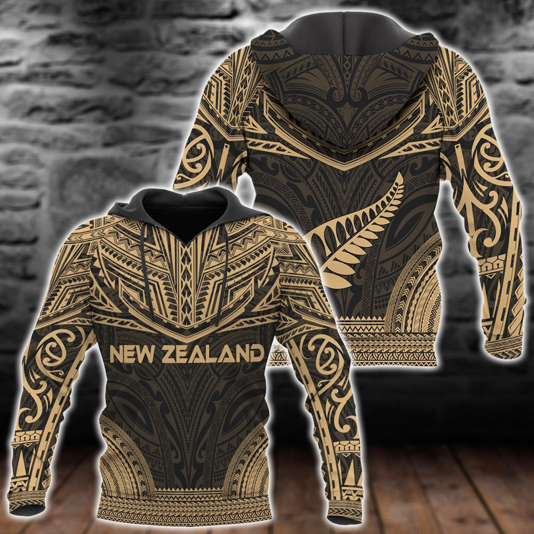 New Zealand Polynesian Chief Gold all over print