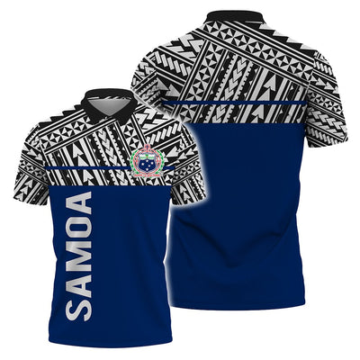 Samoa Coat Of Arms Polynesian Horizontal Style Polo Shirt All Over Print - luxamz