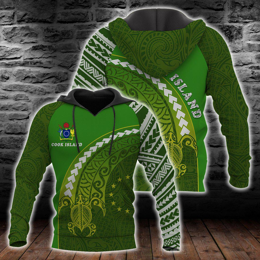 COOK ISLAND HOODIE TURTLE POLYNESIA all over print - luxamz