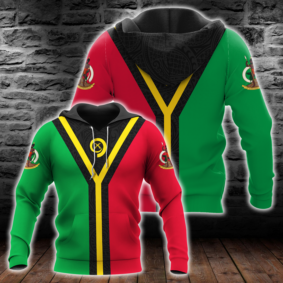 Vanuatu Flag Coat Of Arms Style All Over Print - luxamz