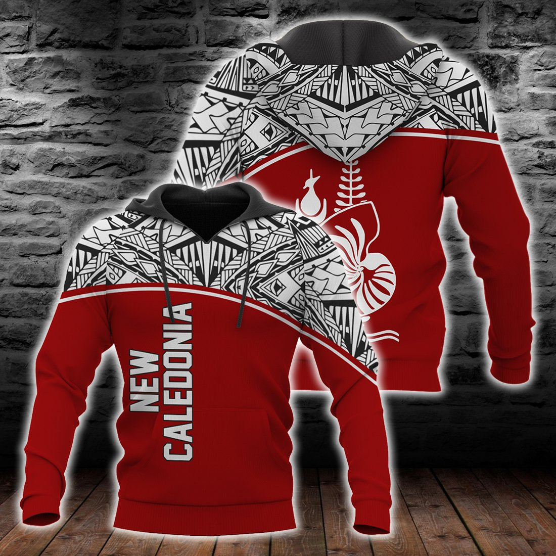 New Caledonia Polynesian Red Curve Version All Over Print - luxamz