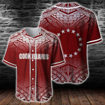 Cook Islands Fog Red Baseball Jersey Shirt