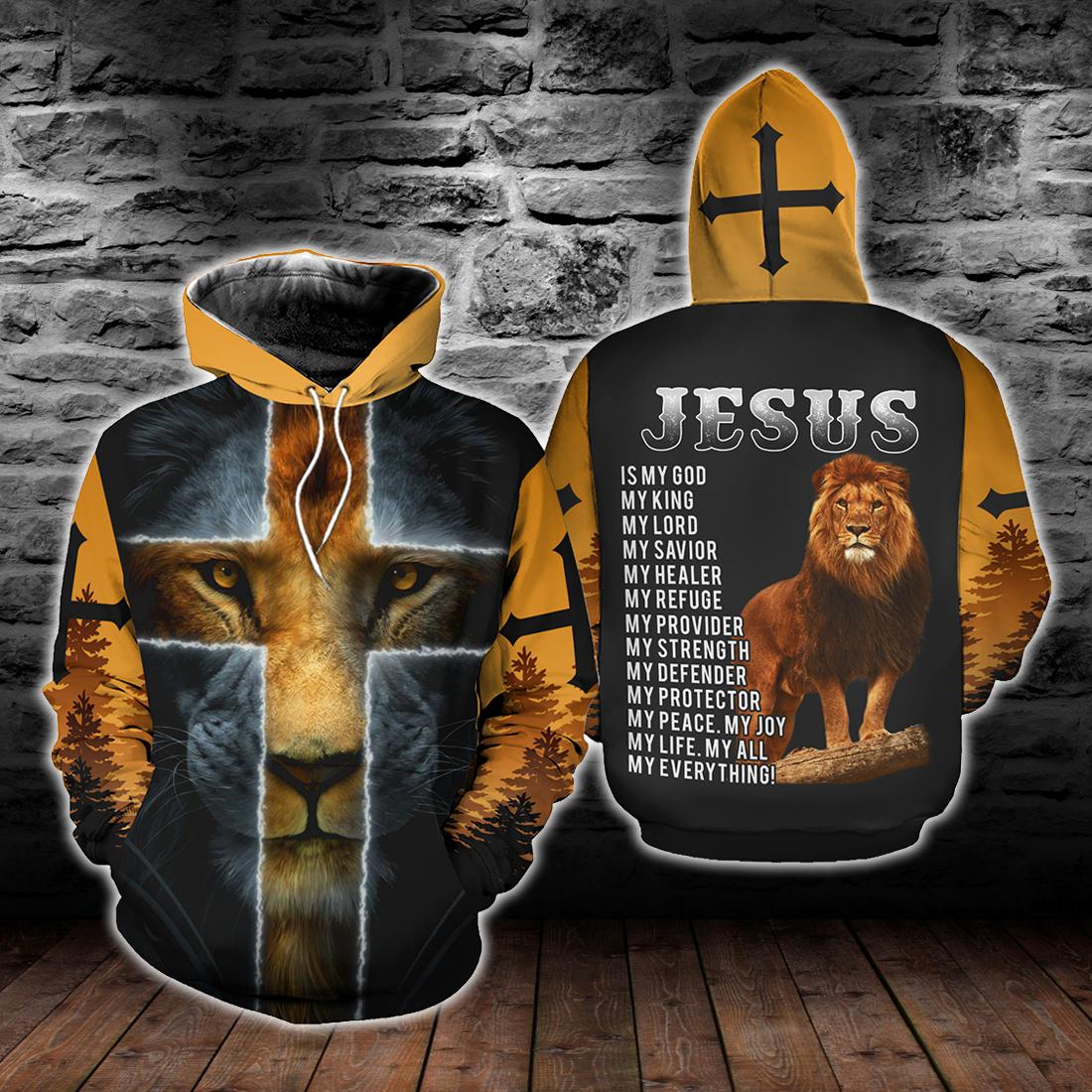 JESUS IS MY GOD LION YELLOW All OVER PRINT - luxamz