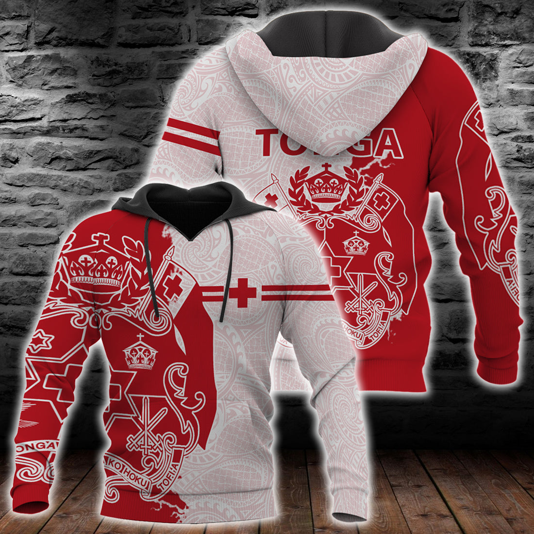 TONGA POLYNESIAN SPORT RED all over print