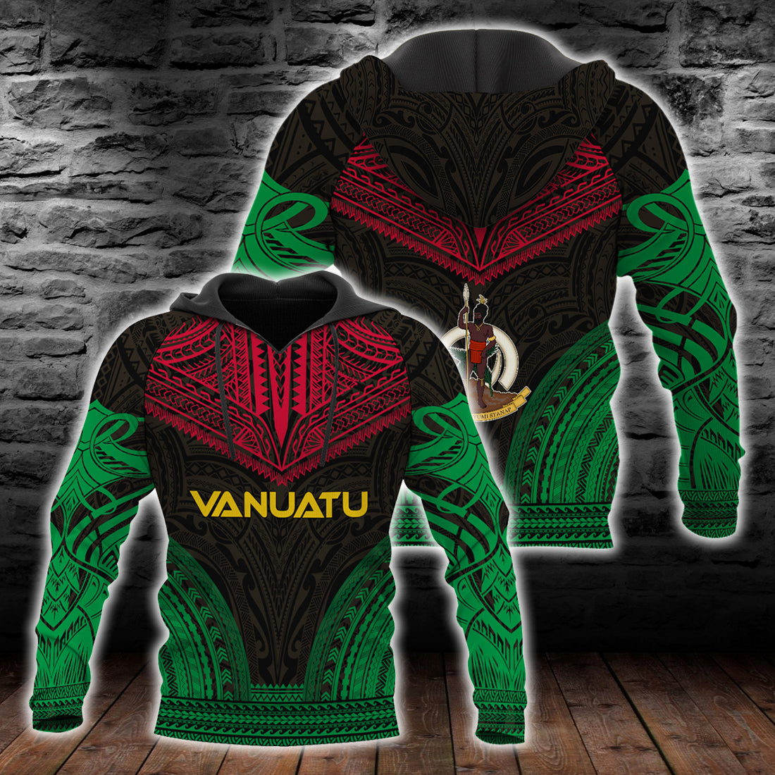 Vanuatu Polynesian Chief Hoodie All Over Print - luxamz