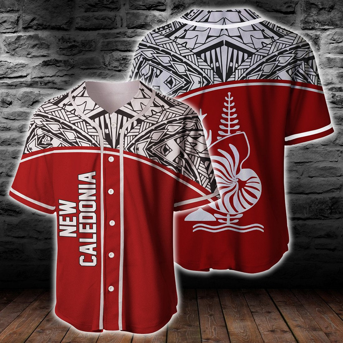 New Caledonia Polynesian Red Curve Version Baseball Jersey Shirt - luxamz