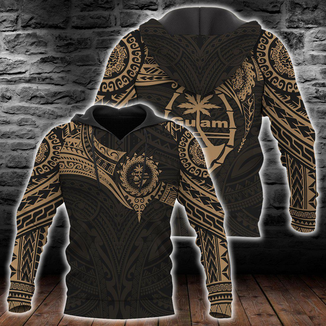 Guam Polynesian Gold Heart Shield all over print