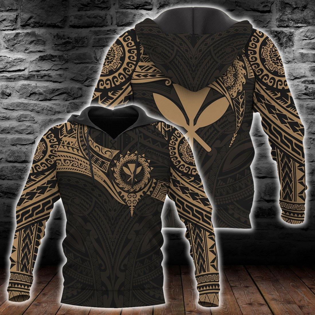 Hawaii Polynesian Gold Heart Shield all over print - luxamz