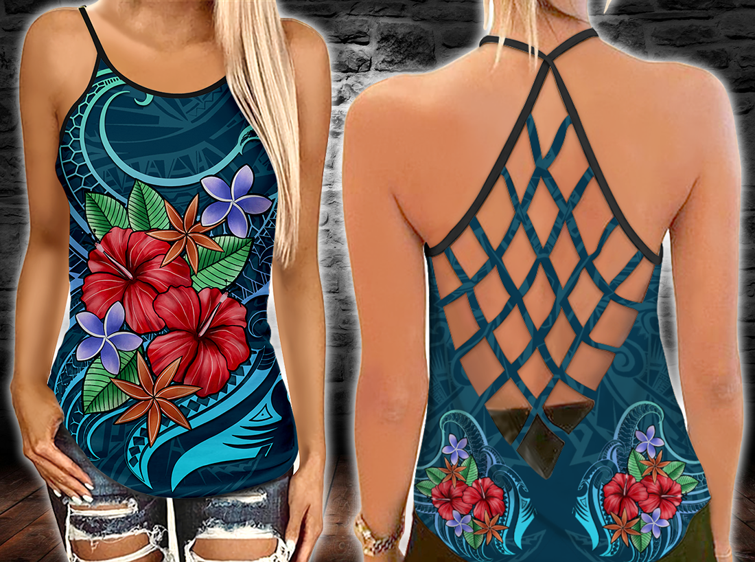 Polynesian - Blue Pattern With Tropical Flowers Criss-Cross Tanktop - luxamz