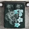 Hibiscus Plumeria Mix Polynesian Turquoise Turtle Bedding Set All Over Printed - luxamz
