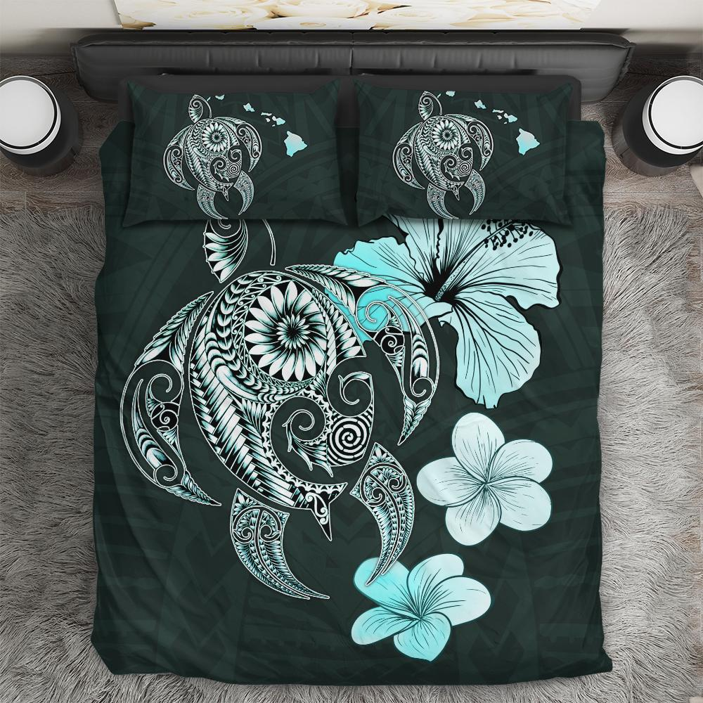 Hibiscus Plumeria Mix Polynesian Turquoise Turtle Bedding Set All Over Printed
