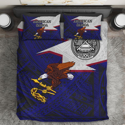 American Samoa Eagle Blue Bedding Sets Polynesian All Over Printed