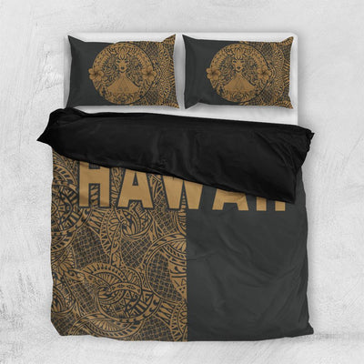 Polynesian Madame Pele Mauna Kea Hawaii The Half Gold Bedding set All Over Printed - luxamz
