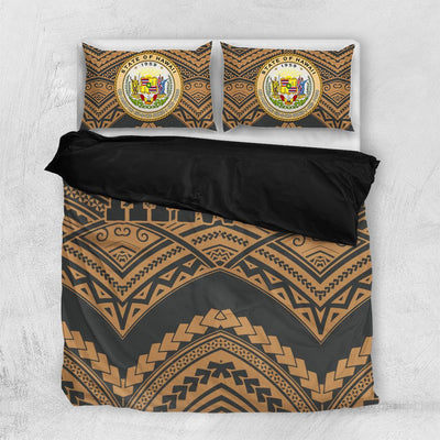 Hawaii Tribal New Warrior Style Polynesian Golden Bedding Set All Over Printed - luxamz