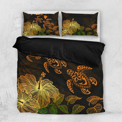 Hawaii Hawaiian Map Turtle And Hibiscus Bedding Set All Over Printed