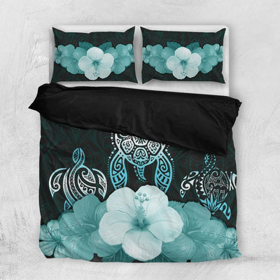 Three turtle polynesian hibiscus Bedding Set All Over Printed