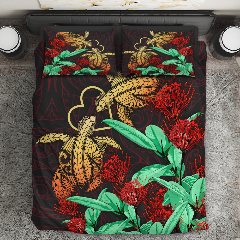 Hawaii Turtle Lehua Flower Polynesian Bedding Set