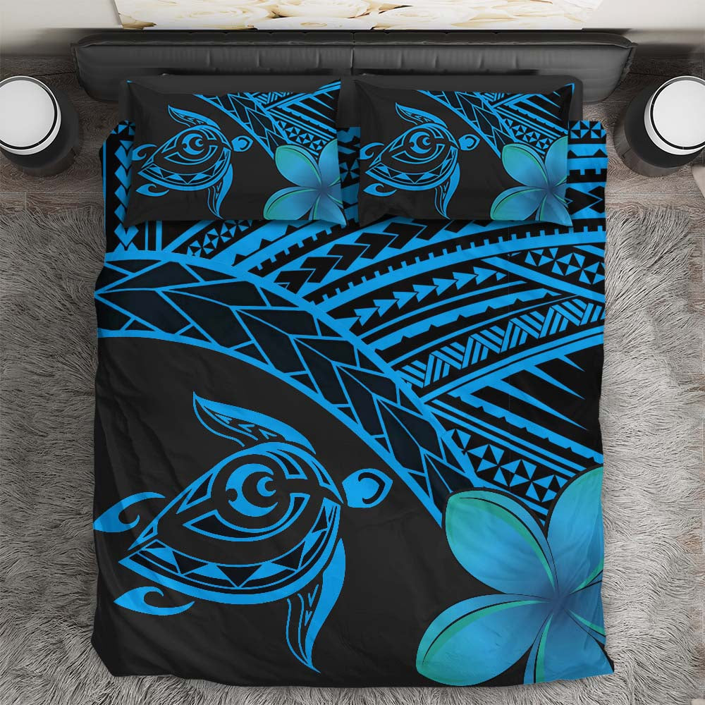 Hawaiian Turtle Kakau Plumeria Polynesian Blue Bedding Set - luxamz