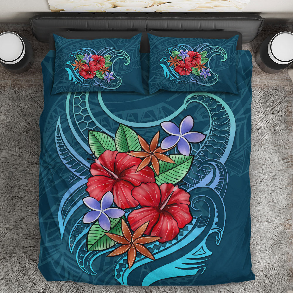 Polynesian - Blue Pattern With Tropical Flowers Bedding Set - luxamz