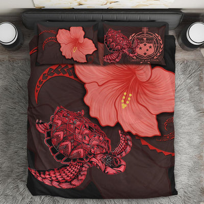 Samoa Turtle Acacia Hibiscus Red Bedding Set All Over Printed - luxamz