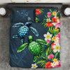 Kanaka Maoli Hawaiian Sea Turtle Tropical Flowers Bedding Set All Over Printed