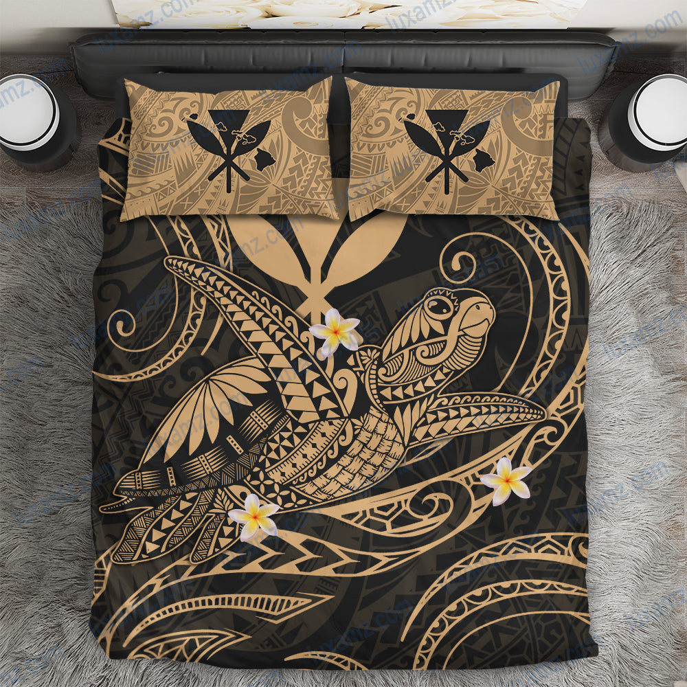 Hawaii Turtle Polynesian Nane Style Gold Bedding Set - luxamz
