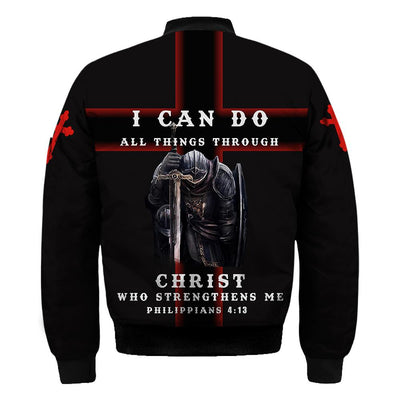 I CAN DO ALL THINGS THROUGH CHRIST WHO STRENGTHENS ME KNIGHT CHRISTIAN JESUS ALL OVER PRINTED - luxamz