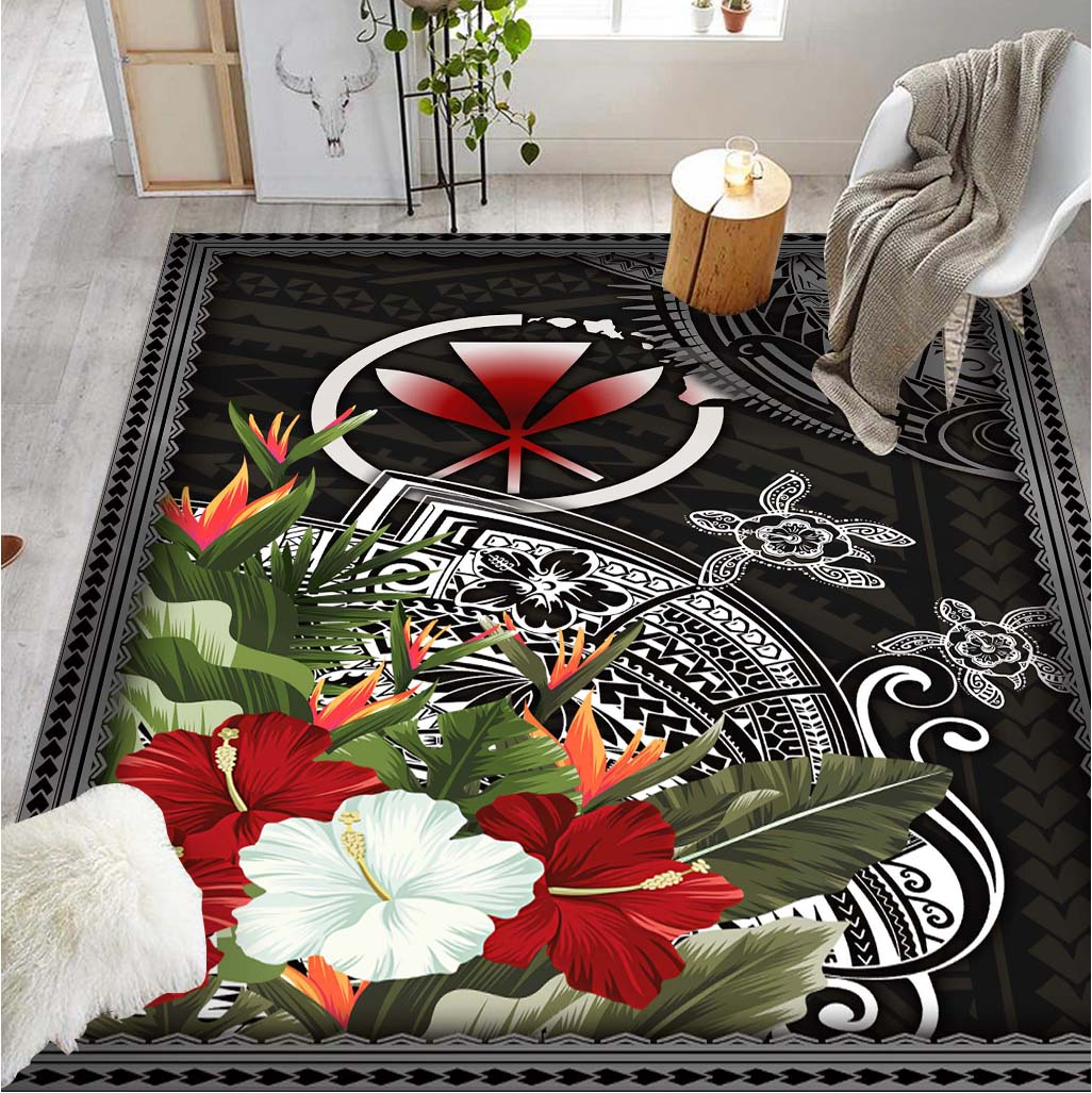 Hawaii with tropical flower and turtle RUG - luxamz