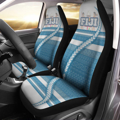 Fiji Coat Of Arms Tribal Line White Blue Car Seat Cover