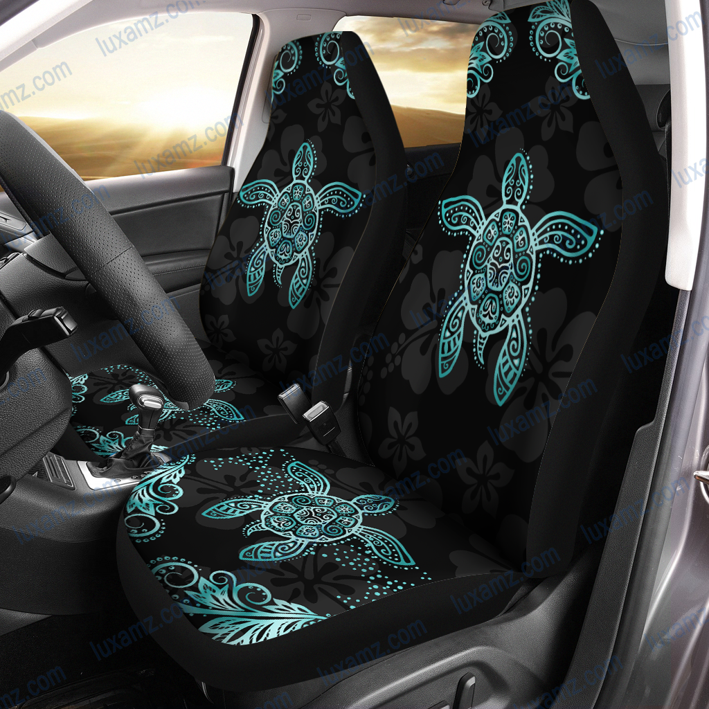 Hawaii Blue Turtle And Hibiscus Car Seat Covers - luxamz