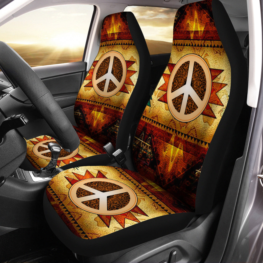 HIPPIE PEACE SIGN WITH NATIVE AMERICA CAR SEAT - luxamz