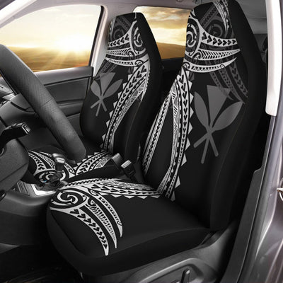 Hawaii Polynesian White Tribal Pattern Car Seat Cover - luxamz