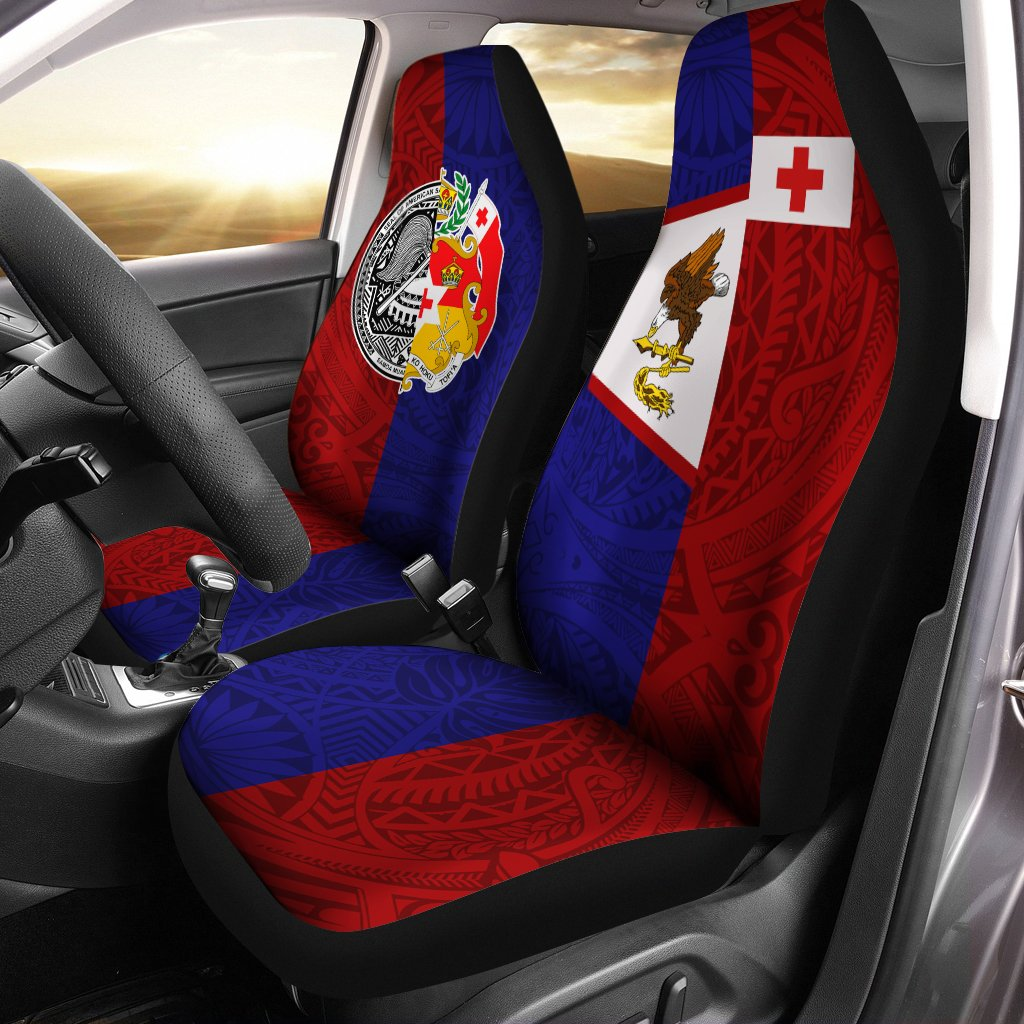 American Samoa And Tonga Hoodie Polynesian Pattern Car Seat Cover - luxamz