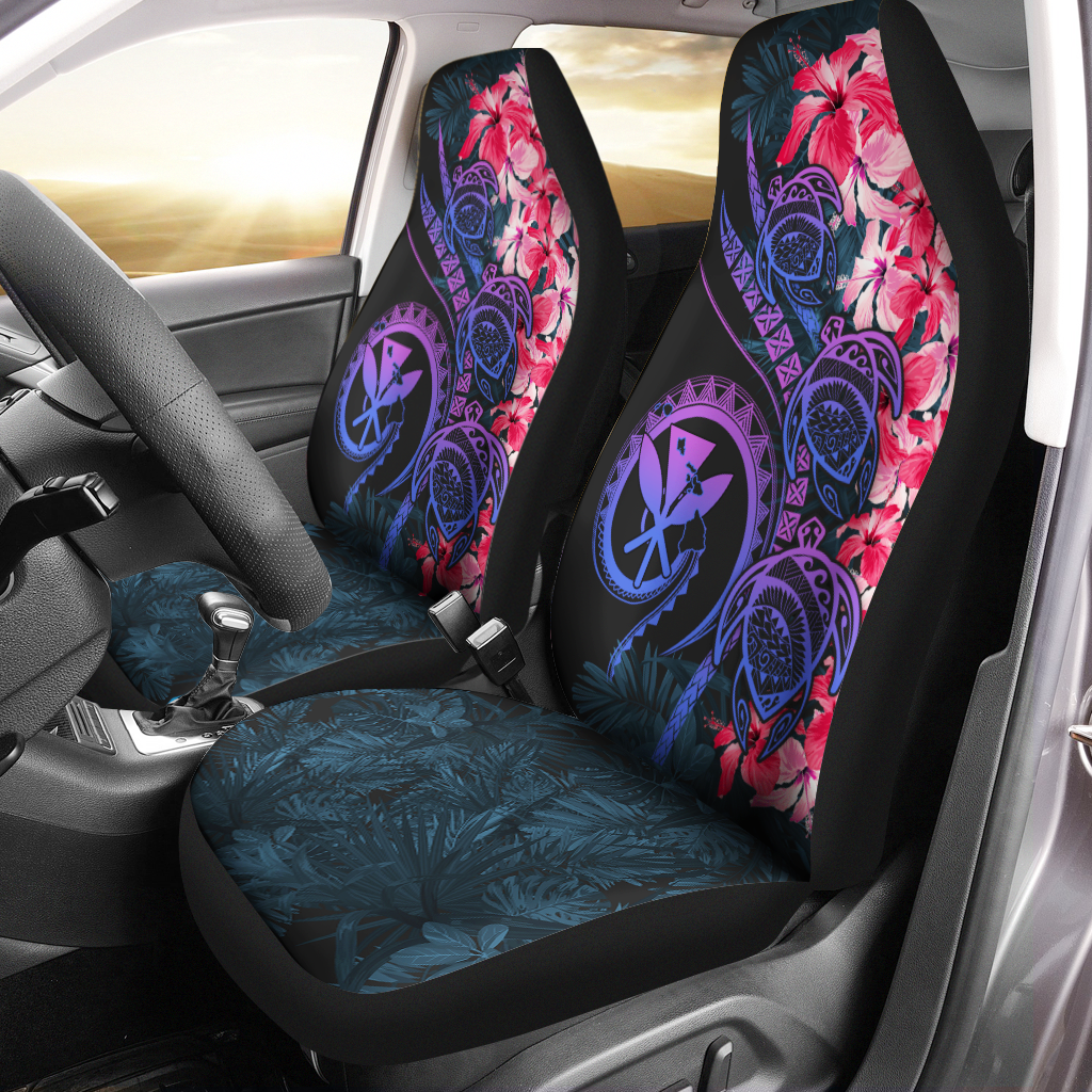Hawaii Turtle Polynesian Tropical Style Pink Car Seat Covers - luxamz