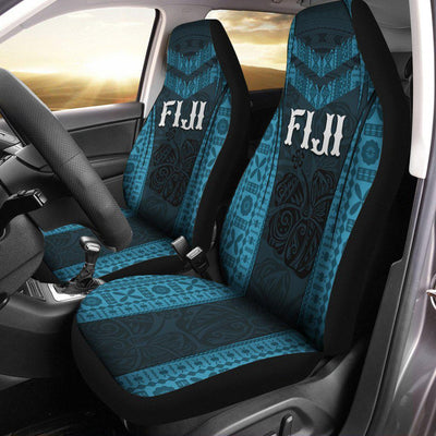 Fiji Fijian Waves Hibiscus Flowers Car Seat Cover