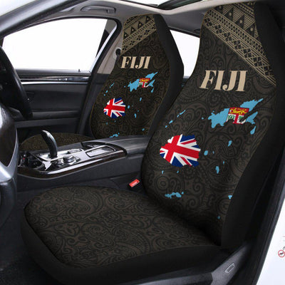 Fiji Flag Map Style Black Car Seat Cover