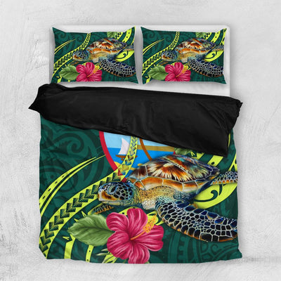 Guam Polynesian Green Turtle Hibiscus Bedding Set All Over Printed