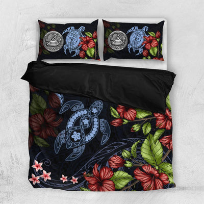 American Samoa Polynesian Sea Turtle And  hammerhead Shark Bedding Set All Over Printed