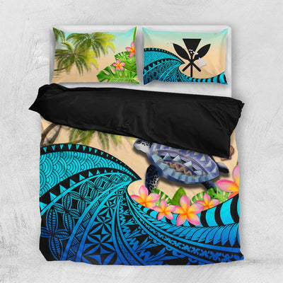 Kanaka Maoli Hawaiian Polynesian Turtle Coconut tree And Plumeria Bedding Set All Over Printed - luxamz