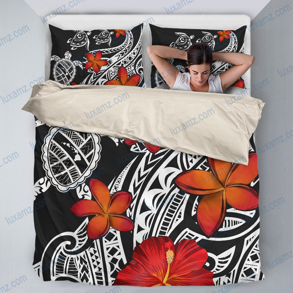 Hawaiian Map Turtle Swim Plumeria Polynesian-Bedding Set - luxamz