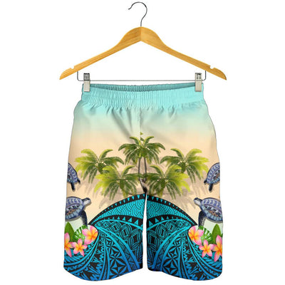 Kanaka Maoli Hawaiian Polynesian Turtle Coconut tree And Plumeria Men's Short - luxamz