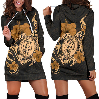 Hawaii Turtle and Hibicus Flower Polynesian Hoodie Dress