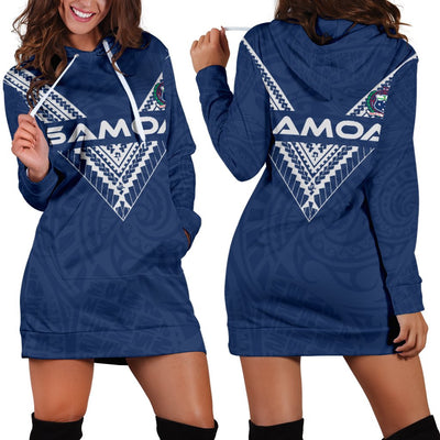 Samoa Polynesian Logo Pattern BLue Color Hoodie Dress