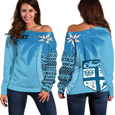 Fiji Hoodie Tapa Coconut Half Shoulder Sweater