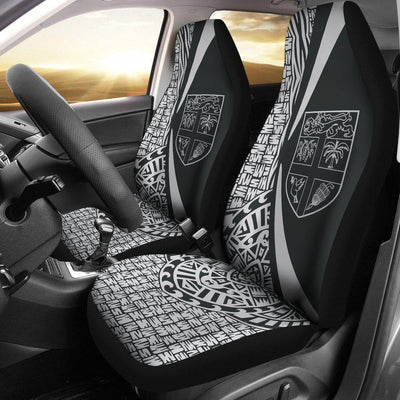 FIJI Polynesian Tribal Circle Style White Color Car Seat Covers - luxamz