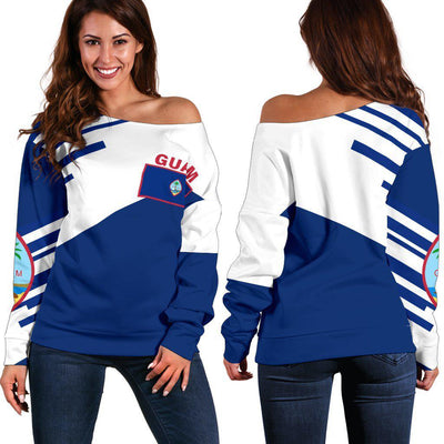 Guam Flag Coat Of Arms Line Style TH5 1ST Shoulder Sweater - luxamz