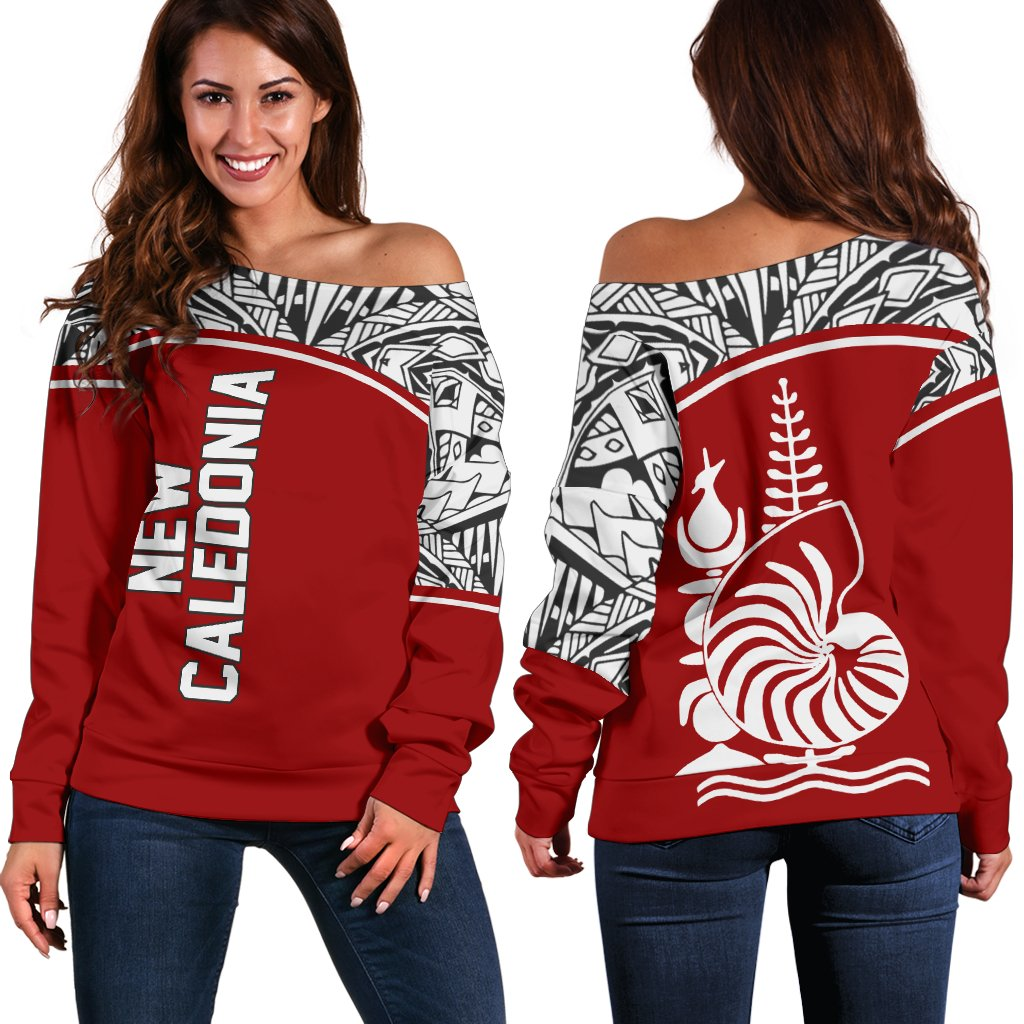 New Caledonia Polynesian Red Curve Version shoulder sweater - luxamz